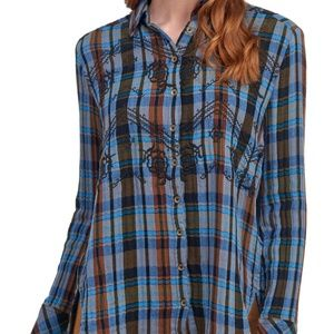 NWT Free People Magical Plaid Top XS